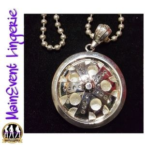 Other - Silver Large Spinning Rim Pendant & Necklace